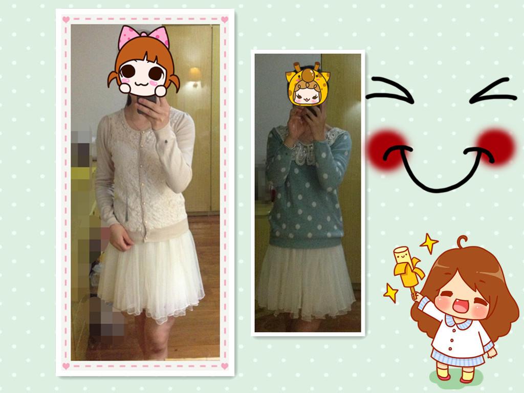 闺蜜白色纱裙手绘背影图