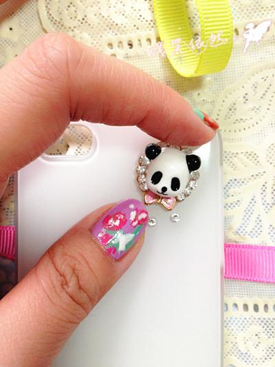 熊猫指甲图案怎样画