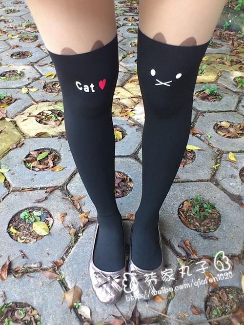 【原宿小猫咪刺青纹身假连腿袜】 【链条包迷你小包单肩斜跨手包】