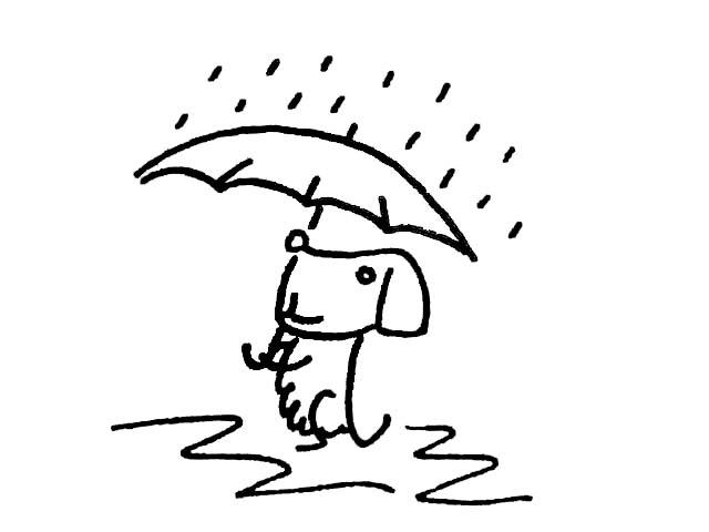 小朋友下雨打伞简笔画