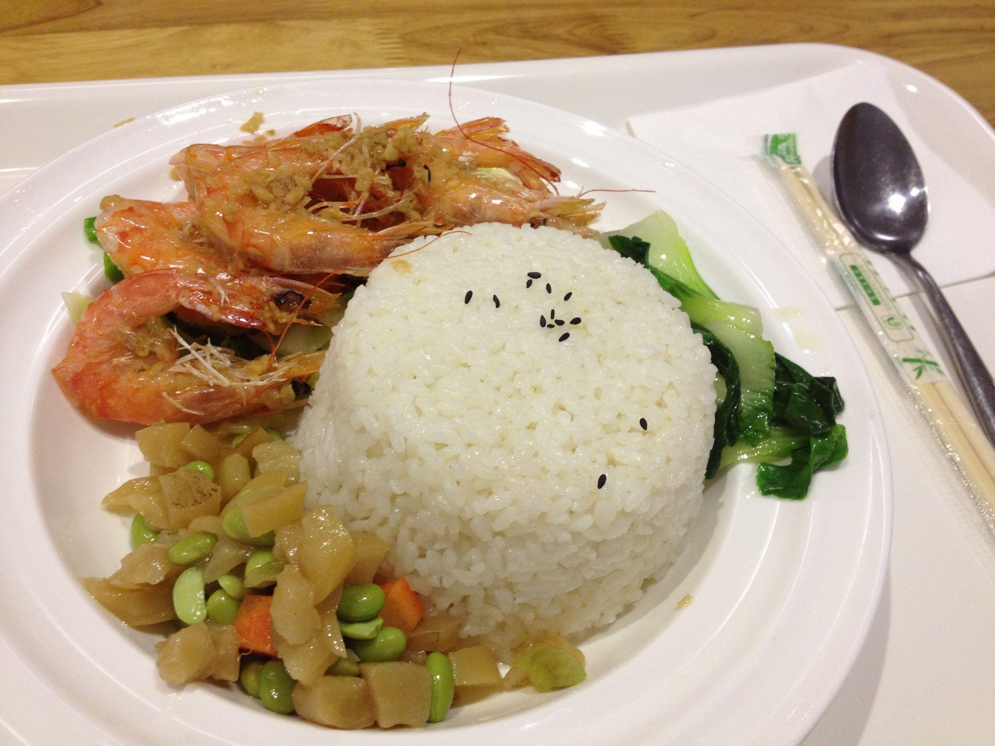 同事点的【蒜蓉大虾饭】,据说味道很好图片