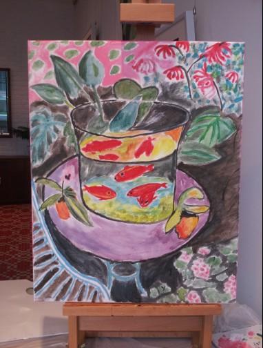 我的油画我做主:爱调色5月17日活动——马蒂斯《金鱼》图片
