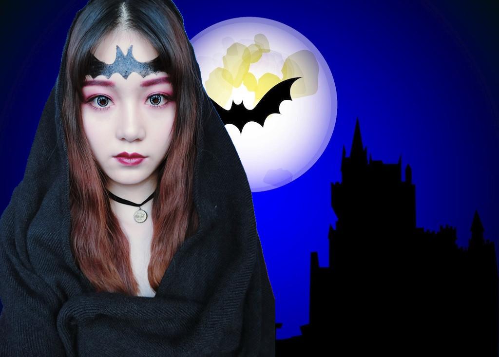 【美妆大赛万圣节妆】哥特式暗夜蝙蝠妆容