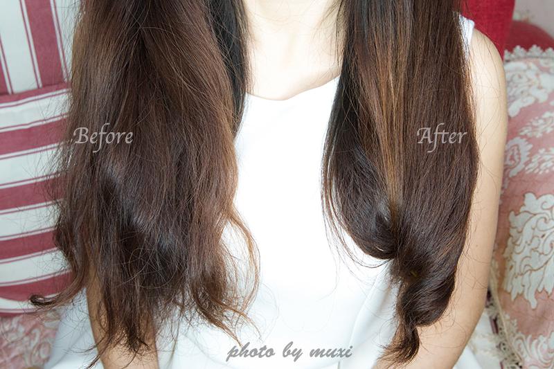 虽然是精油质地,但是抹在头发上却不会油腻,吸收的蛮快的,涂抹后
