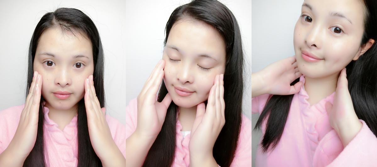 取适量苹果肌精华于手掌,按压3-4下,将精华涂抹于整个面部,按摩约2
