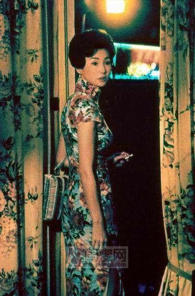 旗袍美女手绘喝酒