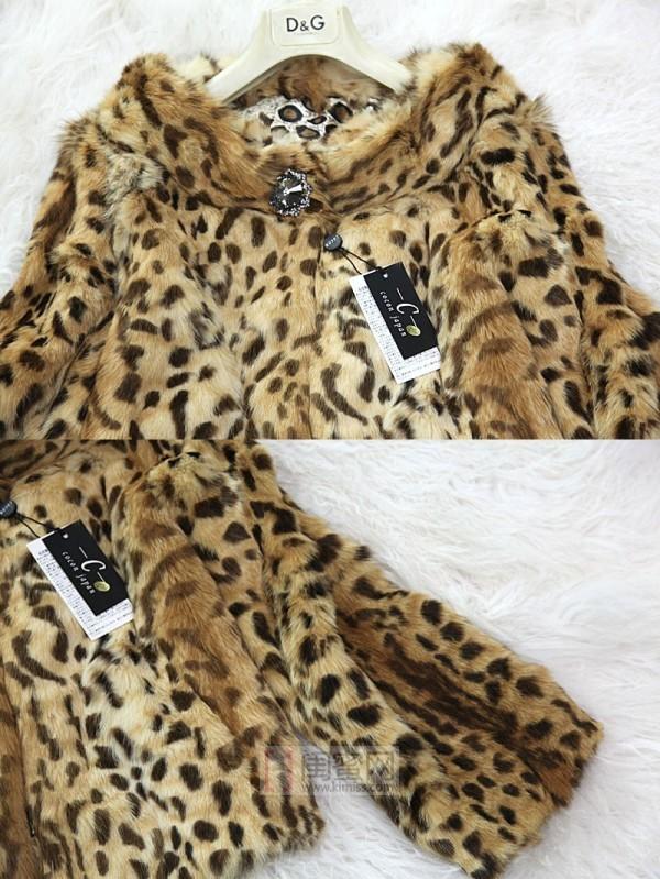 日本 美丽 皮草/第二款日本发货品牌COCON可可尼稀有珍品野猫毛皮草短款豹纹...